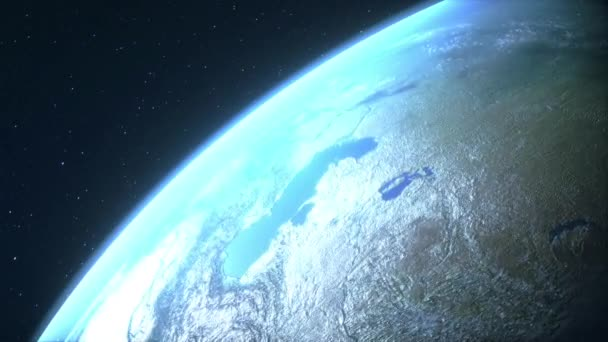 Earth planet in deep space. 4k 3d render animation footage.