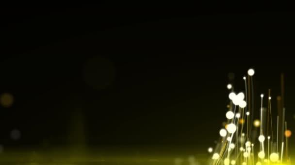 Arany csillám ragyog animáció fekete háttér. 4k fényes háttér hosszúság