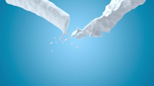 3D render animation of realistic milk splash. Liquid cosmetic splashing on blue background. 4k footage. Green screen.