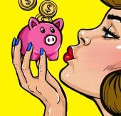 Frau küsst Sparschwein im Pop-Art-Stil. Vintage Mädchen mit dem Geld