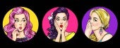 Reihe von erstaunten Frauen im Pop-Art-Stil. Klatschmädchen mit Wow-Gesicht. Werbeplakat für Verkauf oder Rabatt mit sexy Club-Girls.