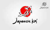 Japanische Koi-Logo-Vorlage. Dieses Logo wird perfekt für alle Angel- oder Aquariengeschäfte verwendet.