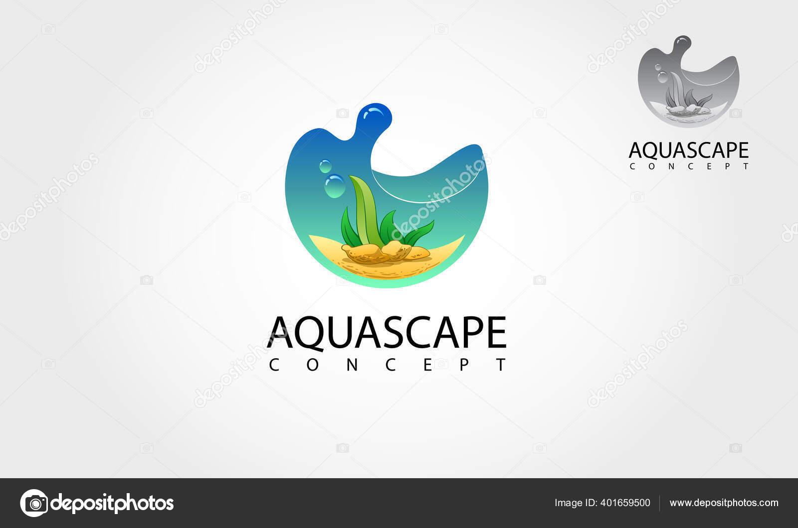 Aquascape Vector Logo Template Nature Aquarium Illustration Concept Stock Vector C Lintangdesign 401659500