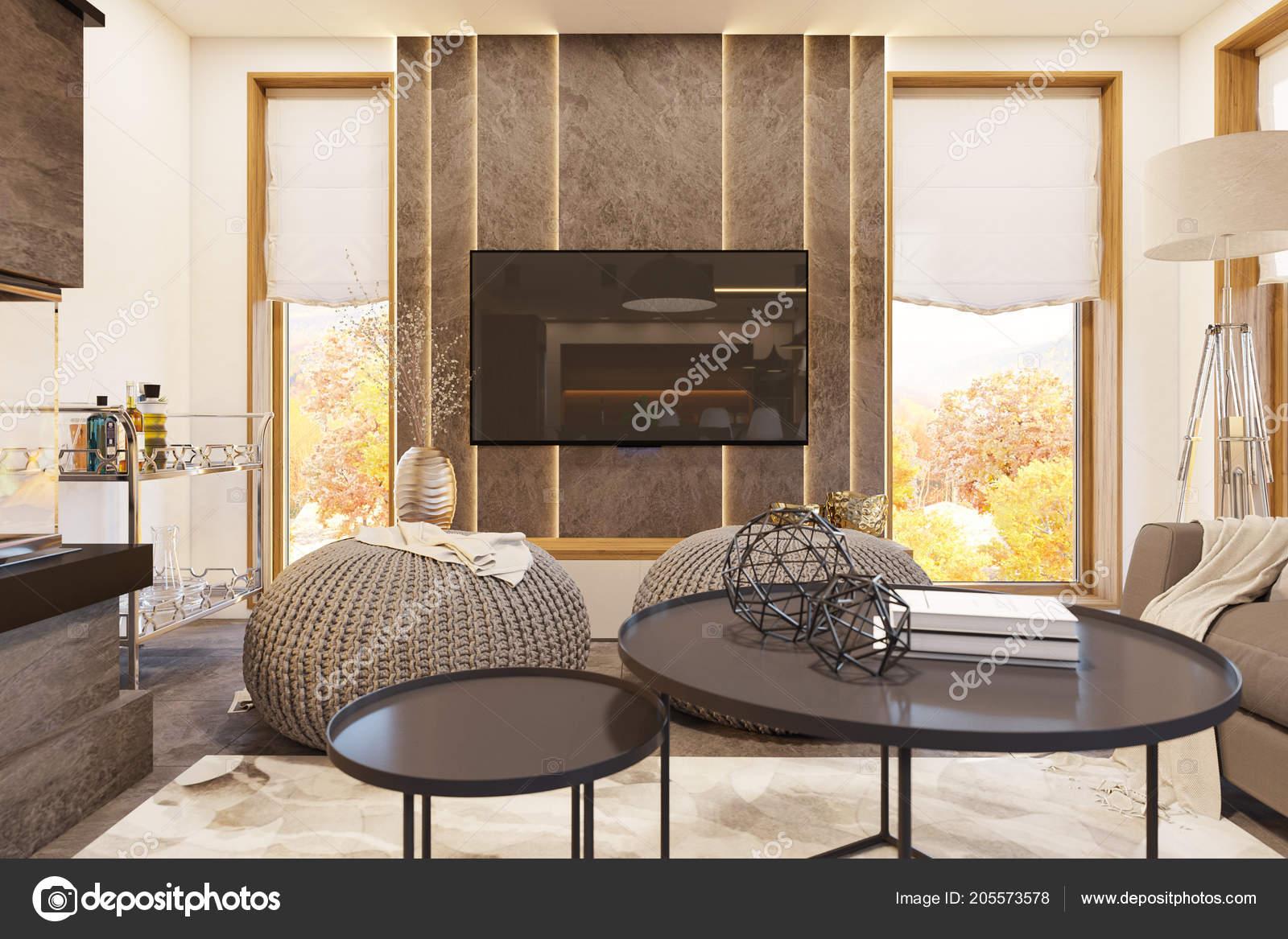 Illustrazione: arredare soggiorno con camino moderno | 3D rendering ...