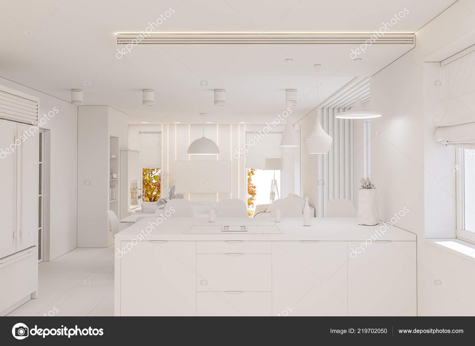 дизайн интерьера кухни белый цвет современная студия минималистском