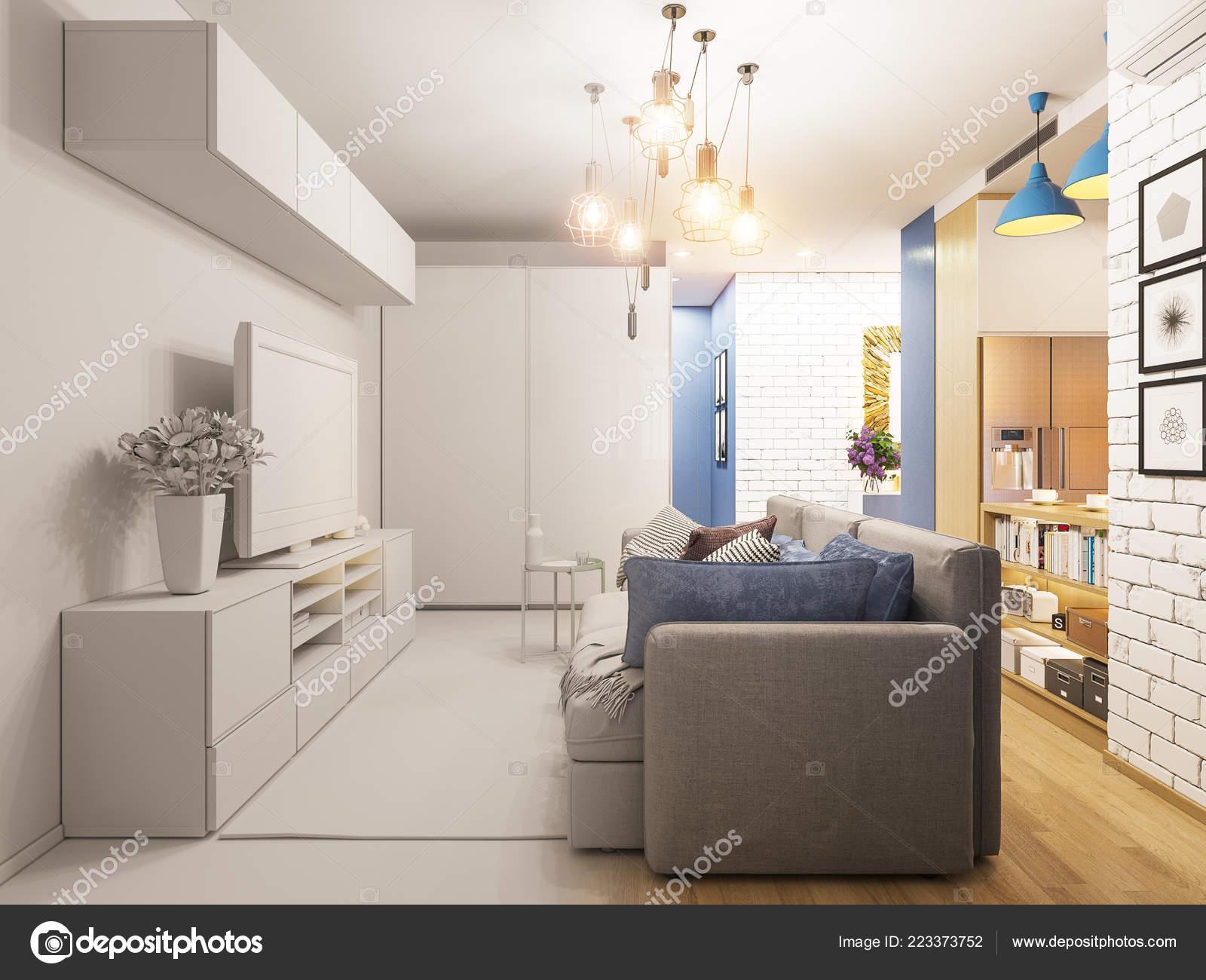 Salón de Ilustración 3D y diseño de interiores de cocina ...