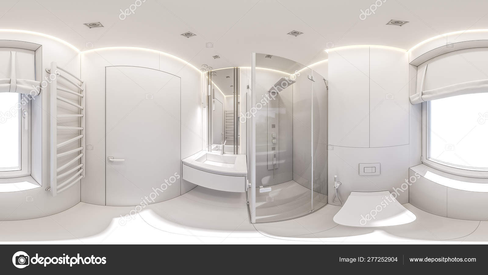 3d Illustration Of A Bathroom In A Private Cottage 360 Degree Seamless Interior Panorama Stock Photo C Richman21 277252904