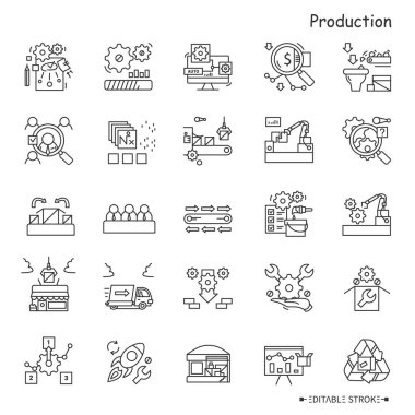 Production line icons set. Industry icons. Production processes. Drafting, packing, shipping, trading, recycling and more. Stages and elements of a successful production cycle. Editable stroke icon