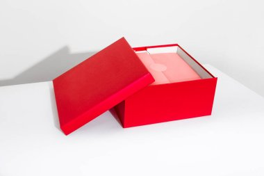 red box for gifts and presents on white background