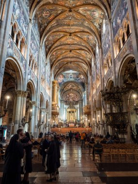 Parma, Italy - April 8, 2018: The Cathedral of Santa Maria Assunta is famous for the beauty of its renaissance-style frescoes.