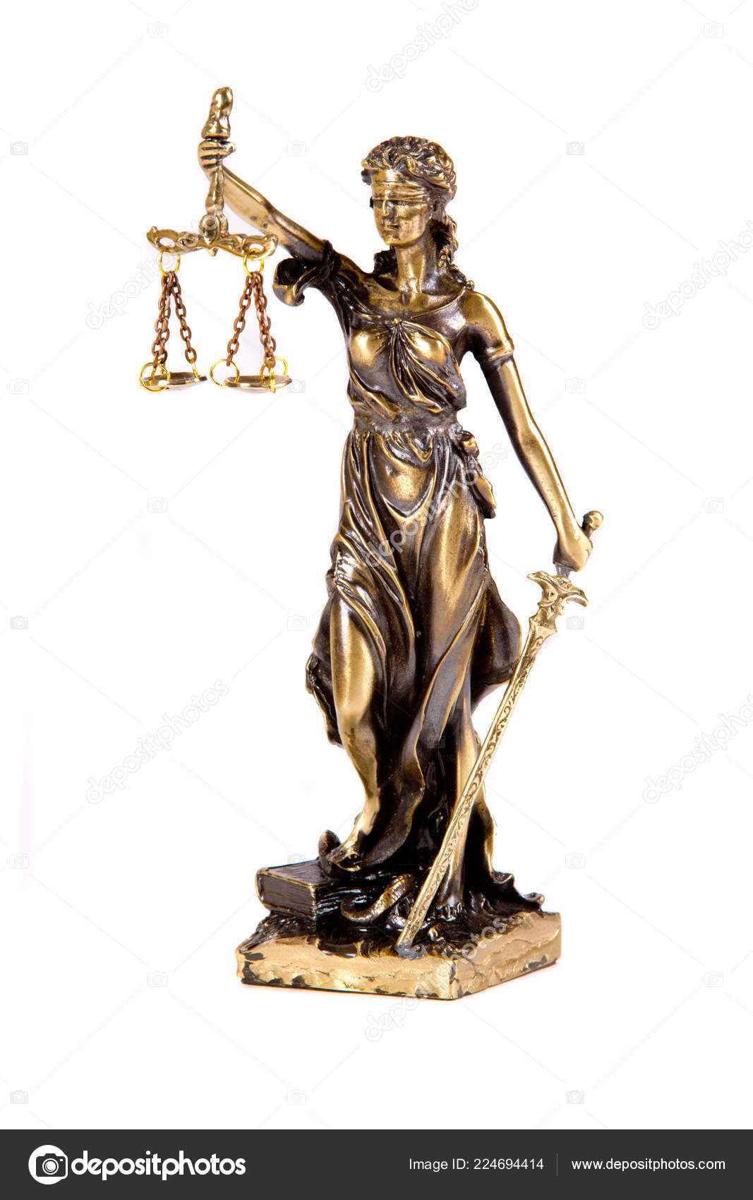 Bronze Sculpture Goddess Justice Themis White Background Stock Photo Image By Guard 224694414
