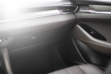 Car inside. New Modern interior of premium car with leather seats.