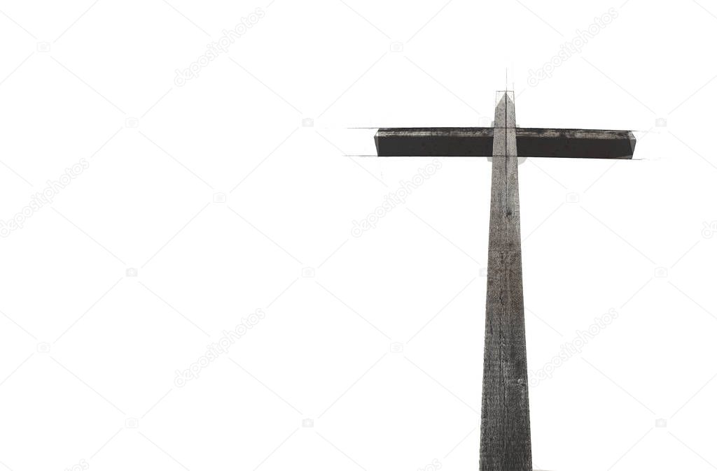 Wooden cross over white background sketch stock vector