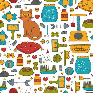 Vector cartoon illustration with hand drawn cat care things background: mouse, food, pet house, food bowl. Set of cat things icons for domestic animals design