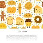 Vektorové ilustrace kreslené s roztomilý chléb znaky: buchta, muffin, tvarohový dort, Kobliha, croissant. Ikonu obchod pekařství nebo pečivo. Děti knihy ilustrace. Legrační úsměv chléb pozadí