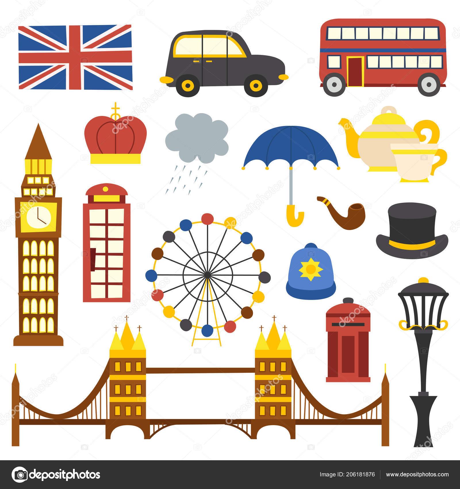 Vector Cartoon Illustration Isolated London Icons Travel United