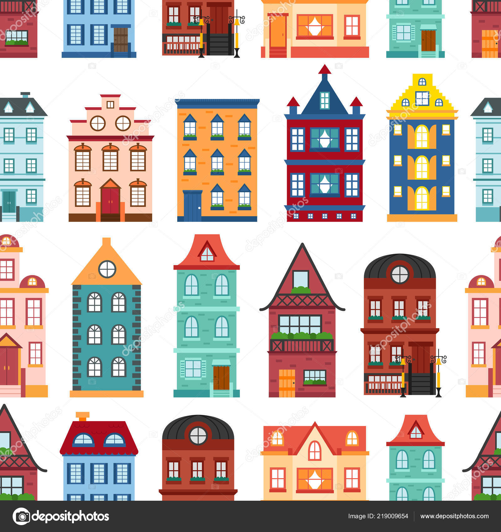 Vector Illustration Collection Flat Cartoon Houses City Town