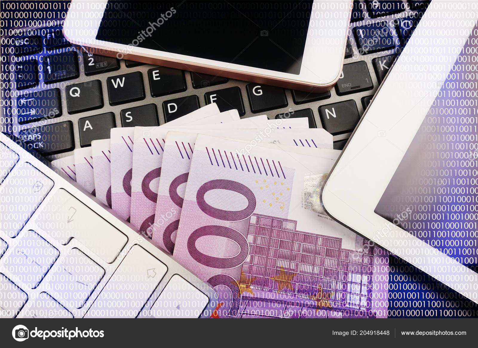 Make Money Online Concept Digital Binary Data Abstract