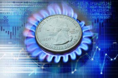 Gaz brülör ve soyut arka plan üzerinde bize dolar sikke ile gaz fiyat evrim kavramı