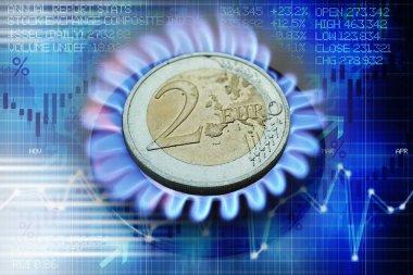 Isıtma maliyeti veya doğal gaz fiyat evrimi düşündüren gaz brülör Euro sikke
