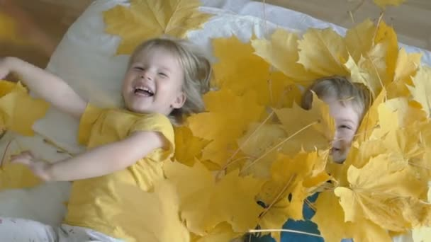 children play with yellow maple leaves. autumn mood