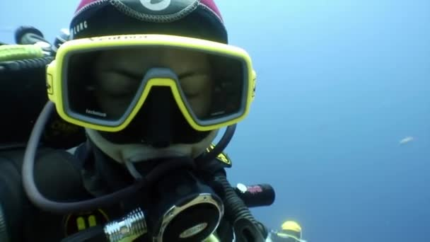 Diver in mask looks at camera undwewater.