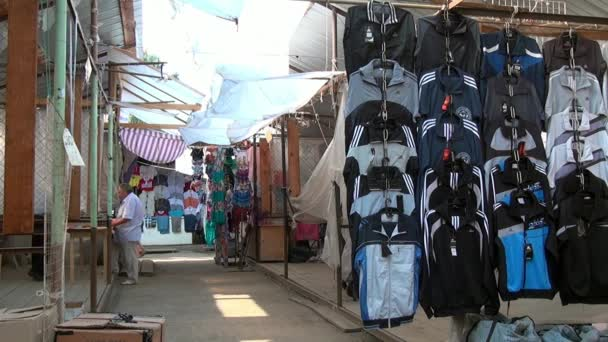 Clothing market in provincial town of Urals.