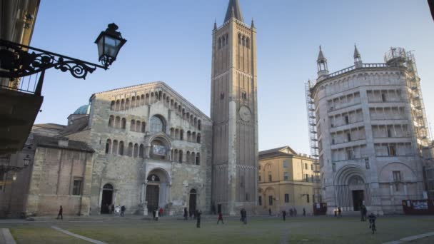 Cathedral and Baptistery of Parma in Italy on a Sunny Day in Timelapse