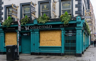 The Norseman Pub in Temple Bar, Dublin. Usually thronged on a Friday afternoon in July 2020, but shuttered due to the coronavirus epidemic.