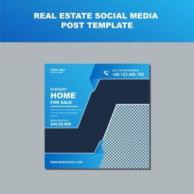 Real Estate Social Media Post Template. Elegant of Real Estate or Home Sale Social Media Promotion, Square flyer design Template.Editable Post Template Social Media Banners.