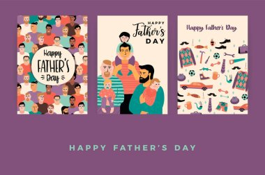 Happy Fathers Day. Vector templates. Design element for card, poster, banner, flyer and other use.