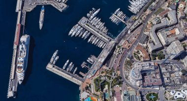 The most expensive city of Monaco Monte Carlo at noon from a height of 3 d