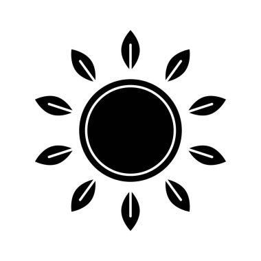 Cutout silhouette Sun with leaves rays and copyspace. Outline icon of flower. Black illustration for eco friendly cosmetic and food. Flat isolated vector on white background. Symbol for package design icon