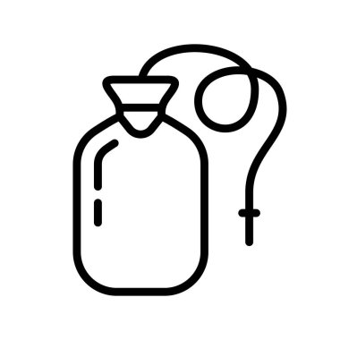 Enema bag or blood pack. Thick linear icon of nurse rubber bottle with drain tube. Black illustration of medical tool for cleansing intestines, transfusion. Contour isolated vector on white background icon