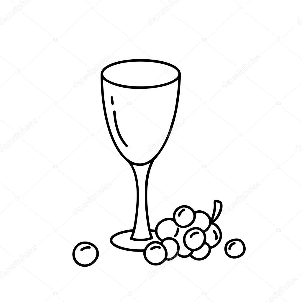 Contour Empty Glass With Grapes Doodle Vector Image Hand Drawn Vertical Drink Concept Outline Illustration Of Wine Cartoon Icons On White Background Premium Vector In Adobe Illustrator Ai Ai