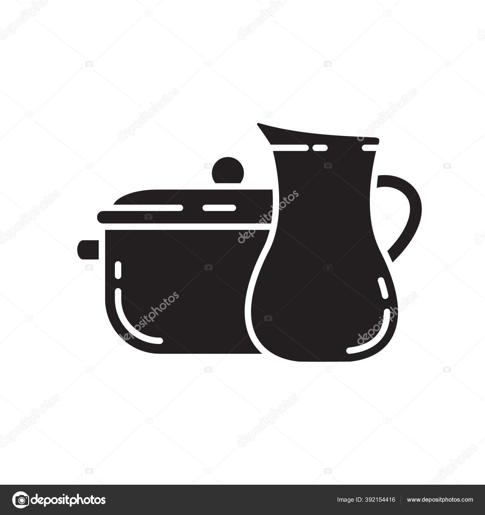Potongan Piring Siluet Dengan Ikon Kendi Templat Luar Untuk Peralatan Stok Vektor C Akininamarina 392154416