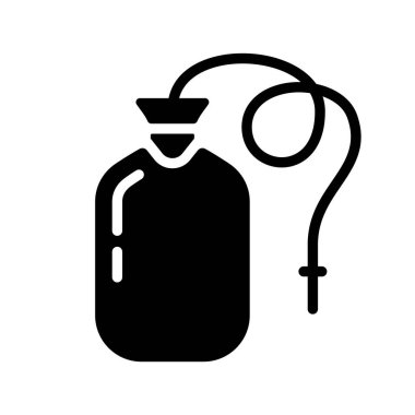 Silhouette Enema bag or blood pack. Outline icon of nurse rubber bottle with drain tube. Illustration of medical tool for cleansing intestines, transfusion. Flat isolated vector on white background icon