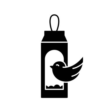 Silhouette Carton bird feeder. Outline icon of DIY birdhouse. Black illustration of handmade street house for feeding birds from milk or juice package. Upcycled Craft. Flat vector on white background icon