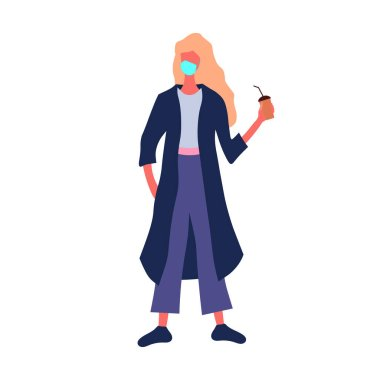 A blond woman with a coffee cup in a protective mask. Vector illustration. Isolated on white. Flat design. icon