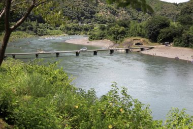 Nagaoi low water bridge on Shimanto river in Kochi, Japan