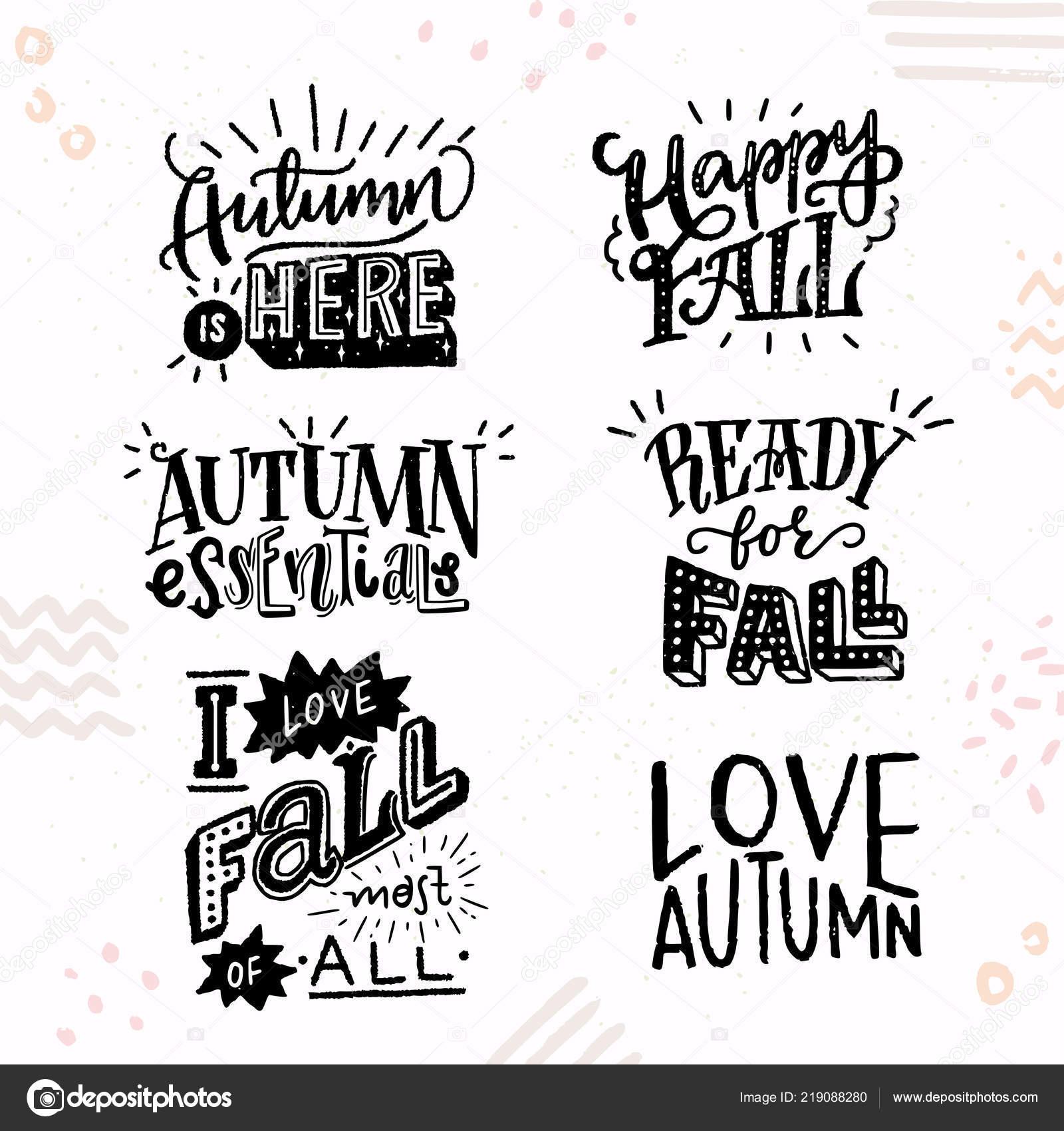 Zestaw Sześciu Inspirujące Cytaty Jesień Strony Napis ładny