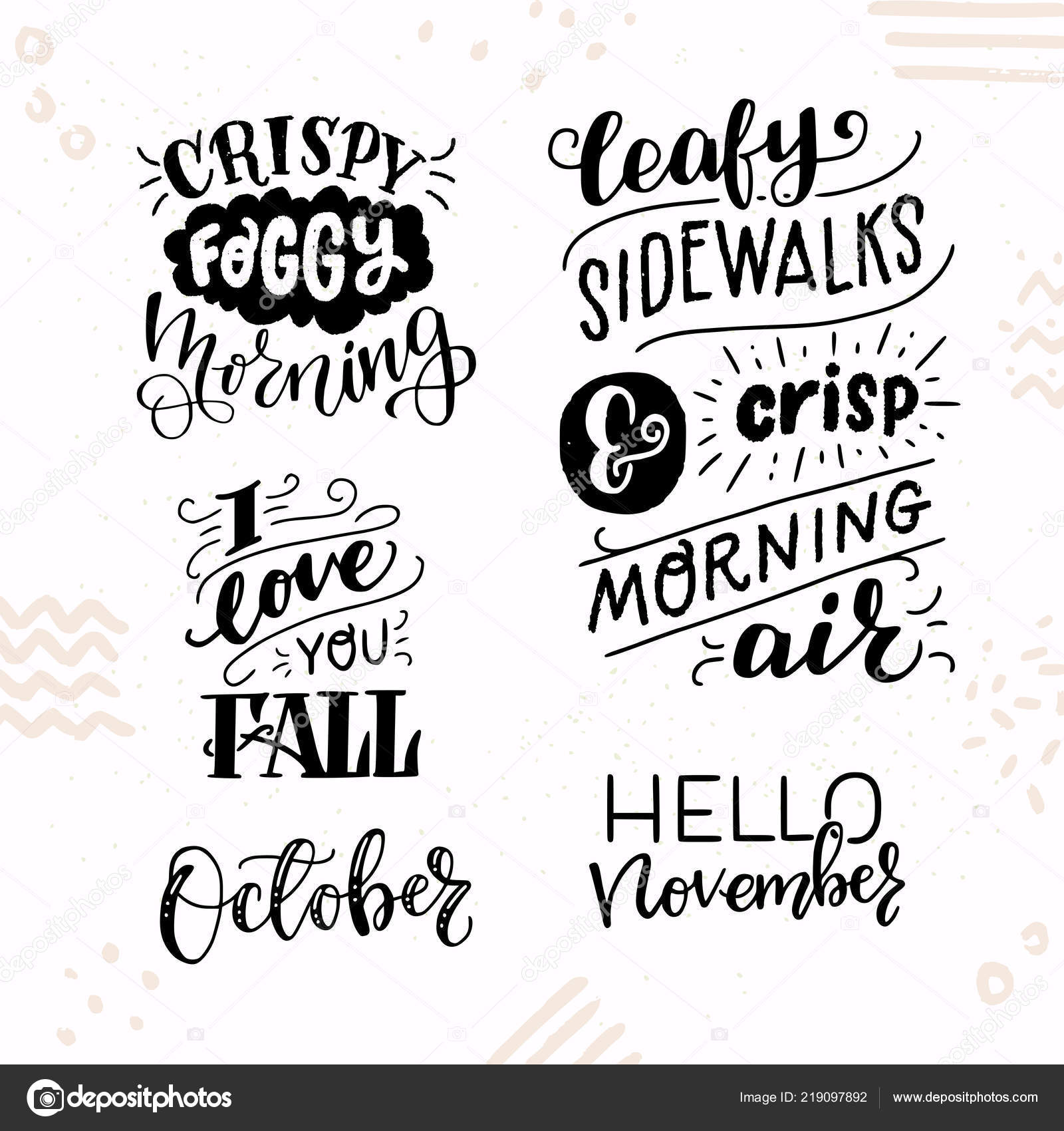 Cute Autumn Quotes Set Five Inspirational Autumn Hand Lettering