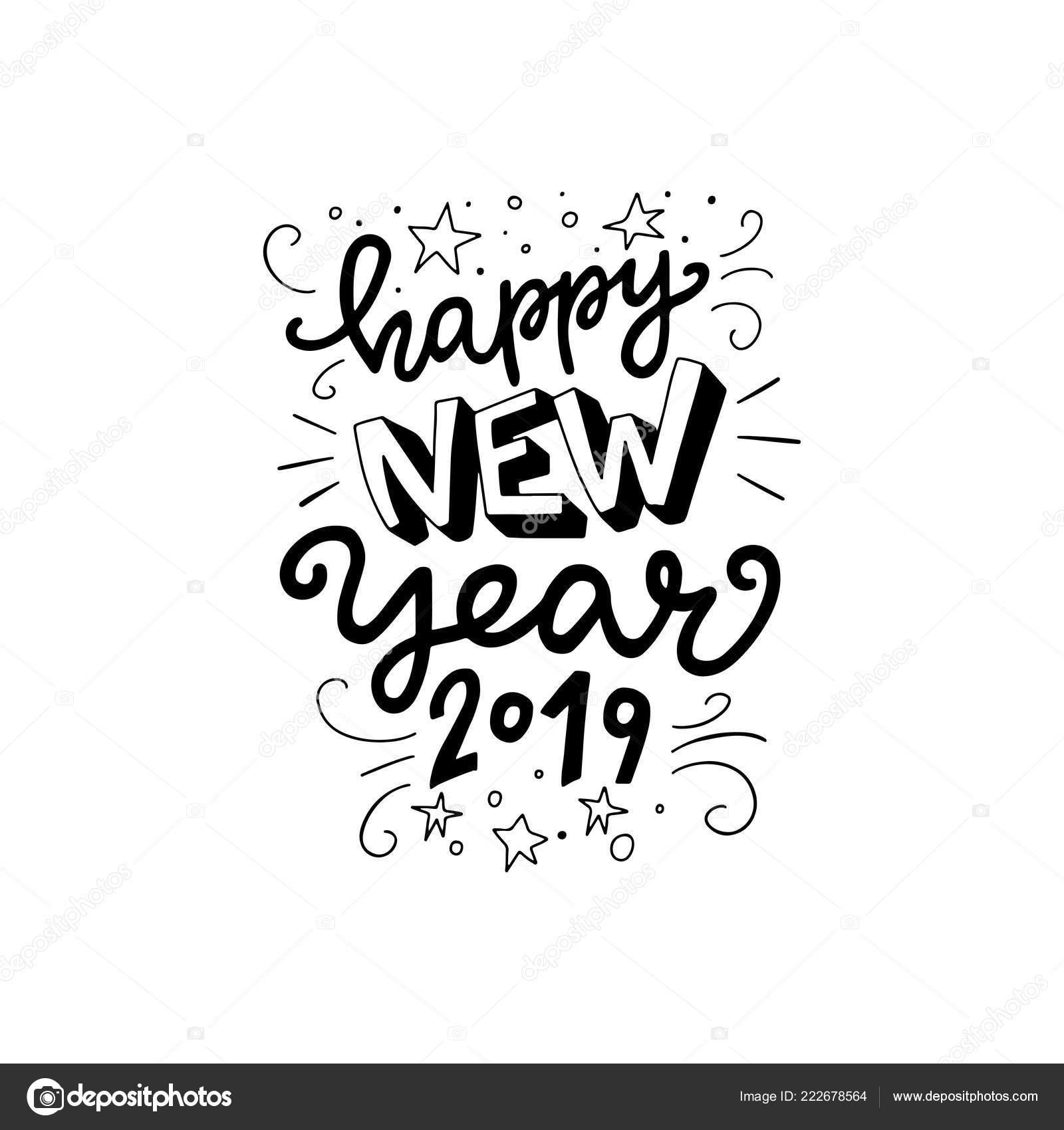 Feliz Ano Novo 2019 Frase Letras Mão Moderna Rotulação Para