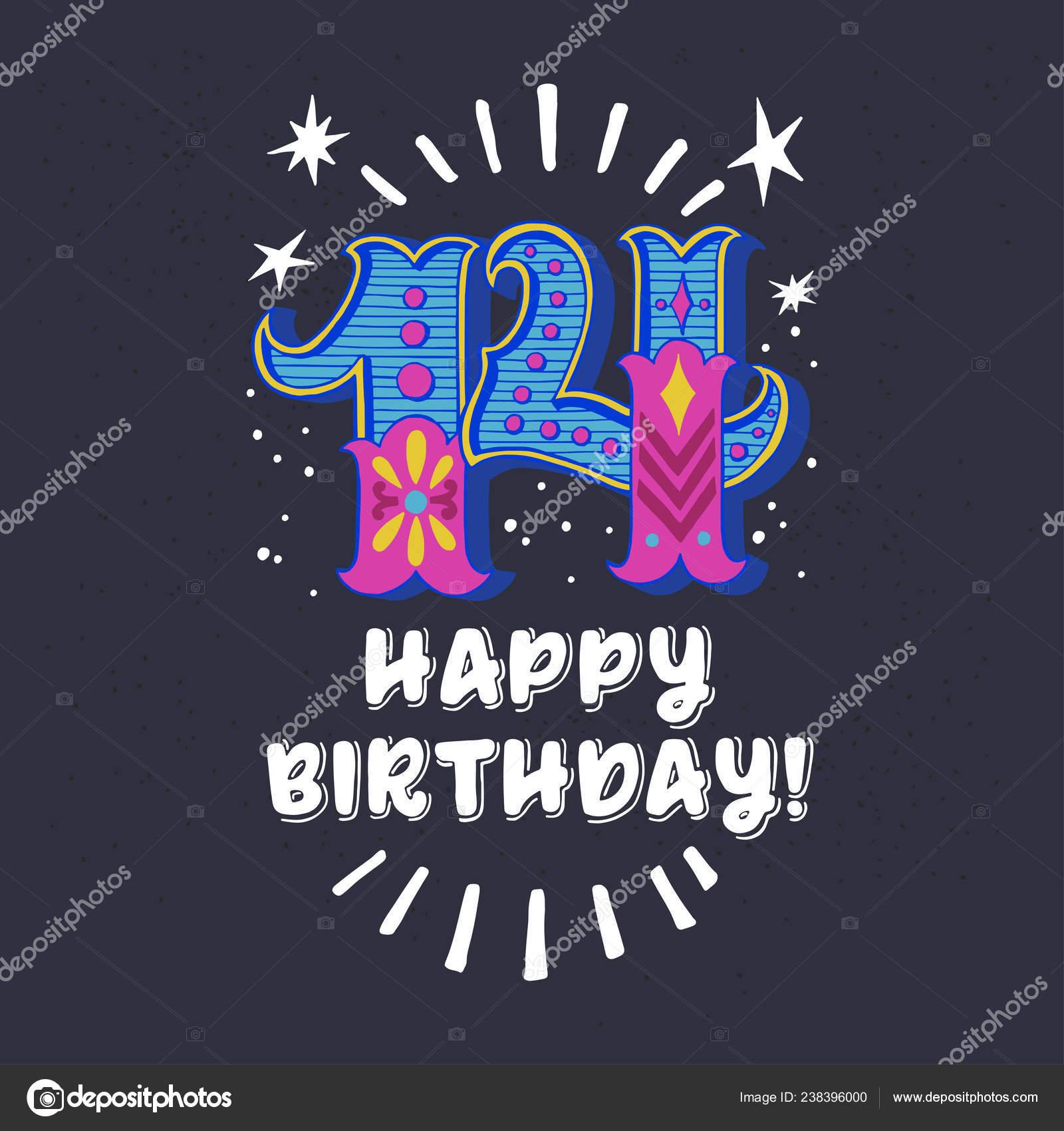 Tarjeta Cumpleaños Para Adolescentes Mano Cartel Tipografía