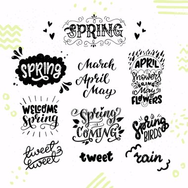 Set of inspirational spring hand lettering texts and phrases. Welcoming and awaiting for March, April, May, twitting birds, showers and rains. Cute and cozy sticker collection. Vector illustration.