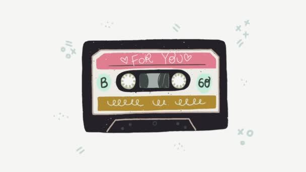 Kreslený ploché styl přehrávání audio kazeta animace. Ročník hudební magnetofonové pásky s nápisem pro vás. Ideální pro 80s 90s nostalgical strana, hudební mix, událost, festival.