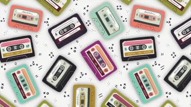 Motion illustration. Old audio cassette background. Moving bright cartoon mix tapes. Retro wave 2D animation. Perfect background for back to 80s 90s nostalgical party, music event, festival, blog.