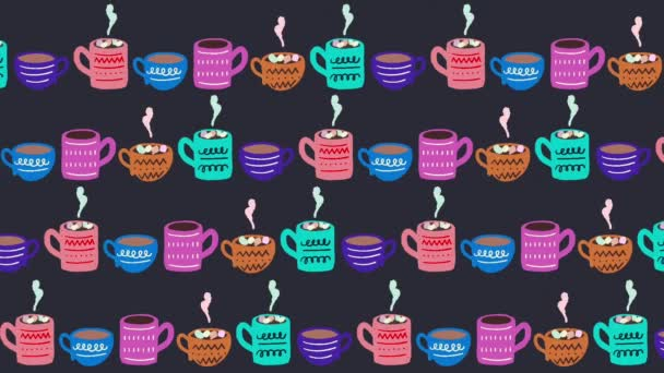 Motion illustration. 2D animation of cute seamless pattern made of moving in line hand drawn tea cups and coffee mugs. Hot beverages, chocolate with marshmallows. Perfect for coffee shop or food blog.