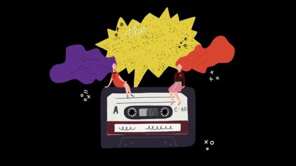 Pohybu grafické retro kazeta točí s dvěma streaming dlouho slyšet dívky a animovaný písma textu dokonalý mix na řečovou bublinu. Stará škola kreslený styl video na průhledném pozadí