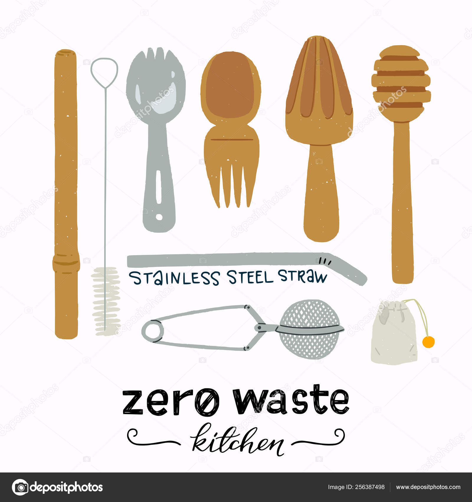 Clipart Zero Zero Waste Kitchen Essensials Clipart